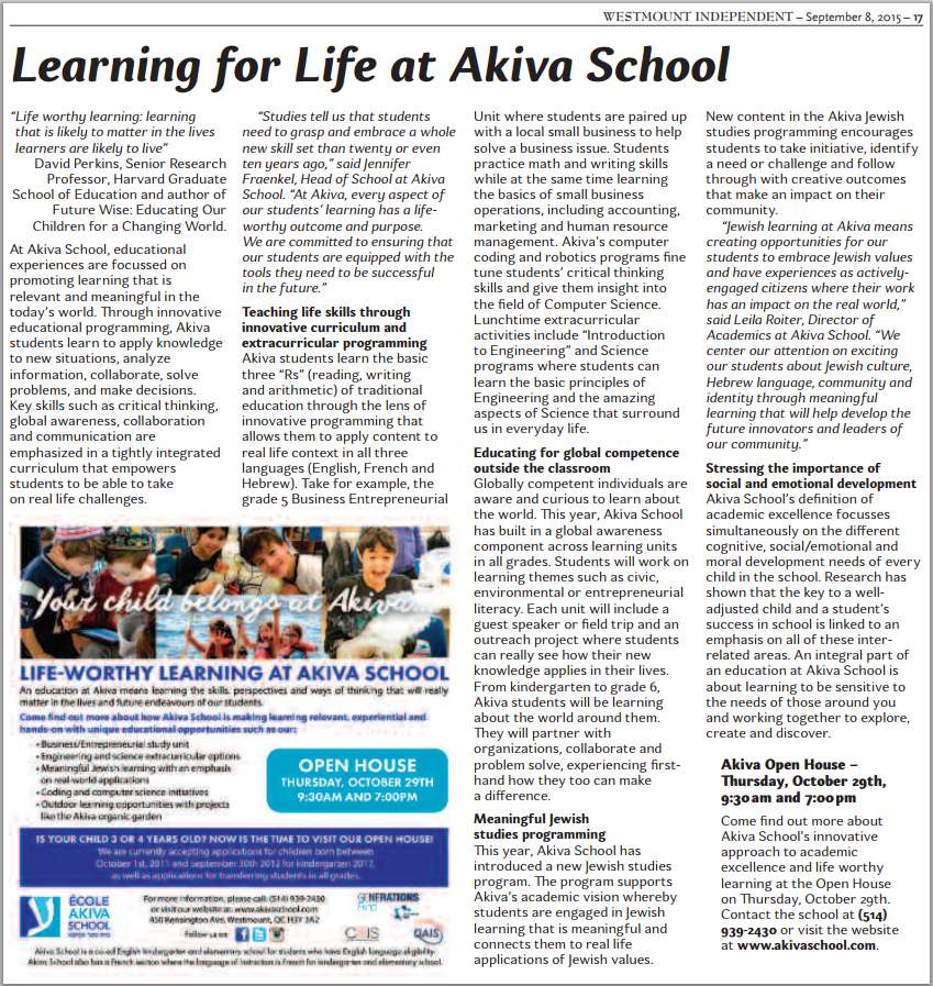 Akiva in the Westmount Independent and Free Press Sept 8 2015
