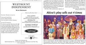 Akiva Players in the Westmount Independent - January 27 2106
